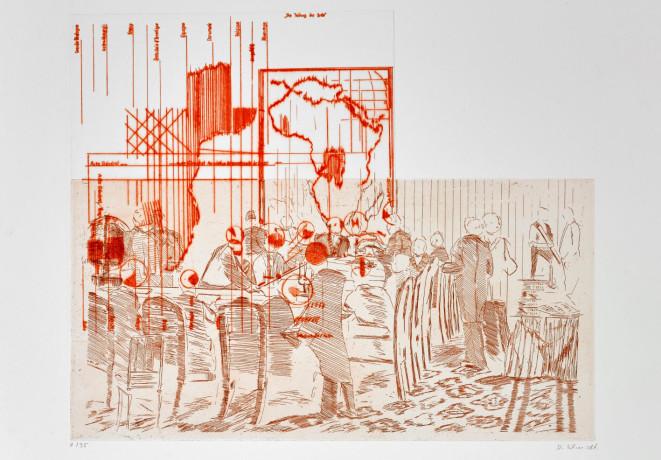 Die Teilung der Erde - Conférence de Berlin # 2, 2005 Kupferstich, Kaltnadelradierung auf Acrylglass, zweifarbig, 50 x 56 cm | Courtesy: Dierk Schmidt und KOW, Berlin