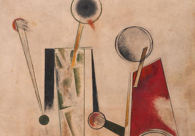 Alexander Rodtschenko (1891 – 1956), Construction on White (Robot). 1920, Öl auf Holz, 144 x 95,2 cm | Courtesy: Staatliches Museum für Zeitgenössische Kunst – Costakis Collection, Thessaloniki.
